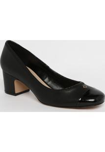 Sapato Tradicional Em Couro Com Tag & Recortes - Preto
