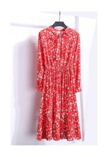 Vestido Madrid Vintage - Vermelho Com Flores