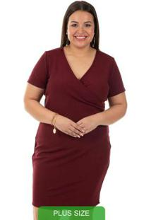 Vestido Com Decote V Bordo Gris Plus Size