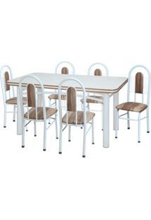 Conjunto De Mesa Com 6 Cadeiras Luana Branco