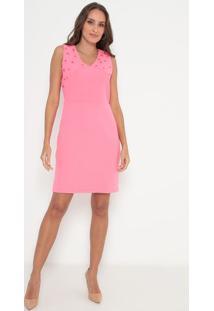 Vestido Com Pedrarias & Recortes- Rosa- Lança Perfumlança Perfume
