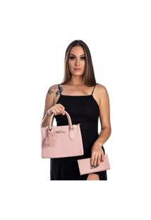 Kit Bolsa + Carteira Feminina Fashion Blogueira Rosa