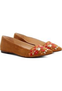 Sapatilha Shoestock Étnica Bico Fino Feminina - Feminino-Caramelo