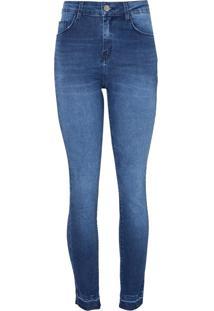 Calca Paula Skinny Barra Desfeita (Jeans Medio, 34)