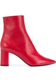 Saint Laurent Ankle Boot De Couro - Vermelho