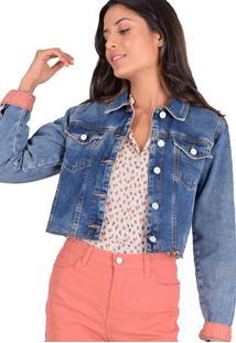 Jaqueta Jeans Equivoco Nena Cropped - Azul - Feminino - Algodã£O - Dafiti