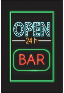 Placa Decorativa Open Bar Preta