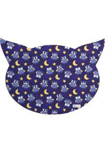 Tapete Pet Mdecore Cabeça De Gato Coruja Azul Marinho 54X39Cm