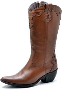 Bota Top Franca Shoes Country Bico Fino Feminina - Feminino-Caramelo