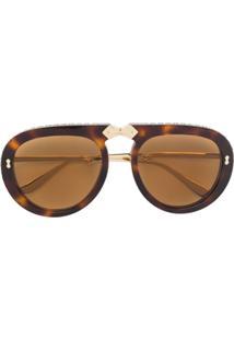 Gucci Eyewear Óculos De Sol Aviador - Marrom