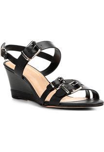 Sandália Anabela Couro Shoestock Fivelas Feminina - Feminino-Preto