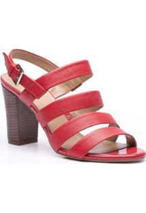 Sandália Salto Bloco Tiras Horizontais Isorella - Feminino-Vermelho