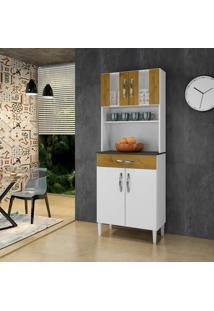 Armário De Cozinha Milão Branco/Ipê 4 Portas 1 Gavetão - Arte Móveis
