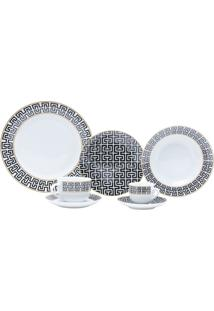 Aparelho De Jantar Com 42 Peças Em Porcelana Preta Egypt 8201 Lyor Classic