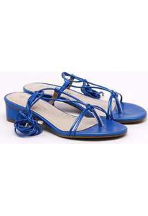 Sandália Via Marte Metalizada Azul