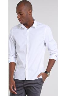 Camisa Masculina Slim Estampada Mini Print De Poá Manga Longa Branca
