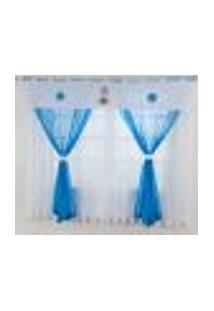 Cortina De Quarto Infantil Ursinho Azul Turquesa Em Voil - Bandô 140 Fios