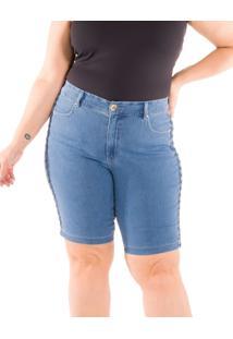 Bermuda Jeans Special Impulse Com Trançado Lateral Jeans Azul