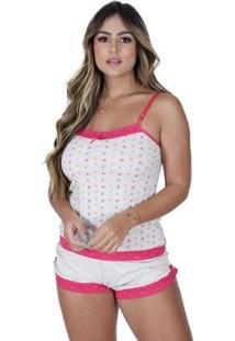 Short Doll Soneca Algodão Estampado Concept Lingerie Feminino - Feminino-Pink