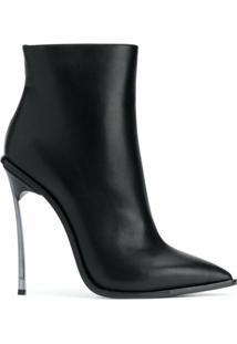 Casadei Ankle Boot Maxi Blade Com Salto 115Mm - Preto