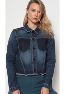 Jaqueta Jeans Estonada - Azul Escurodudalina