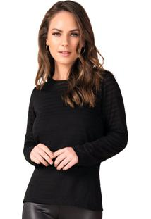Blusa Feminina Com Sobreposição Rovitex Preto - P