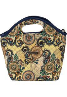 Bolsa Handbag Tecido Mão Forro Impermeável Prática Bege