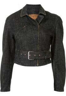 Mcq Swallow Jaqueta Jeans Com Cinto - Azul