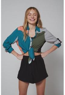 Camisa Amarração Oh, Boy! Feminina - Feminino-Verde