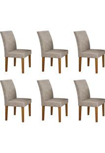 Conjunto Com 6 Cadeiras Olímpia Imbuia Mel E Pena Palha