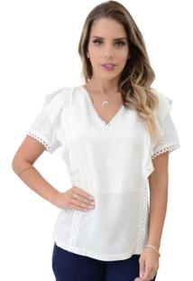 Blusa Mamorena Recorte Com Babado Branco