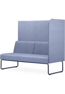 Sofa Privativo Pix Com Lateral Esquerda Aberta Assento Mescla Azul Base Aco Preto - 54988 - Sun House