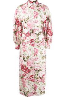 P.A.R.O.S.H. Vestido Com Mangas Bufantes E Estampa Floral - Rosa