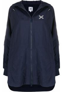 Kenzo Logo-Print Hooded Raincoat - Azul