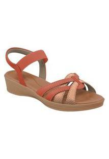 Sandalias Usaflex Com Elastico Vermelho E Quartzo Af0405