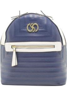 Bolsa Birô Bicolor Textura Feminina - Feminino-Azul