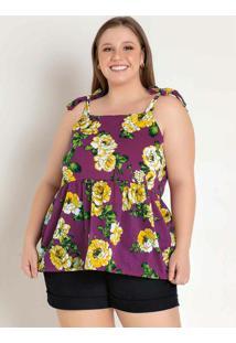 Blusa Floral Púrpura Com Amarração Plus Size
