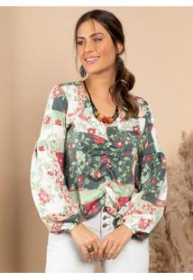 Blusa Floral Geométrico Decote V Com Drapeado