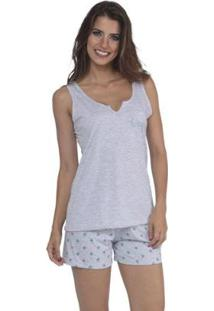 Pijama Modelo Glitter Short Doll E Regata De Verão Da Victory Feminino - Feminino-Verde Escuro