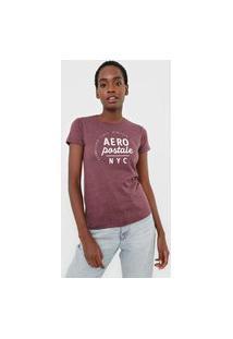 Camiseta Aeropostale Lettering Bordô