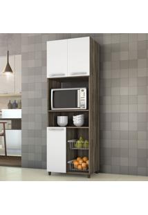 Armário De Cozinha Para Forno Com Fruteira 3 Portas Chocolate/Branco New - Notavel