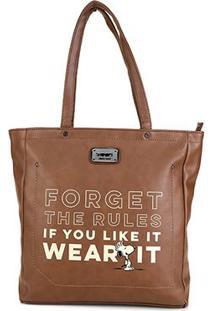 Bolsa Snoopy Shopper Bag Grande Feminina - Feminino-Marrom
