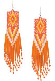Jessie Western Beaded Long Earrings - Laranja
