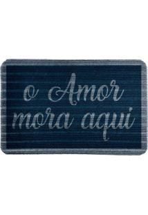 Capacho Carpet O Amor Mora Aqui Azul Único Love Decor