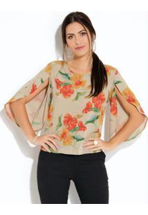 Blusa Floral Bege Com Mangas Amplas E Vazadas