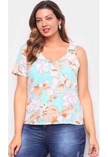 Blusa Allexia Plus Size Assimétrica Feminina - Feminino-Verde