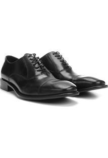 Sapato Social Couro Vr Oxford Biqueira - Masculino-Preto