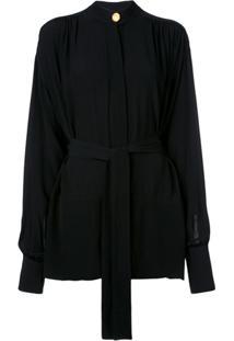 Proenza Schouler Blusa Drapeada Em Crepe De Chine - Preto