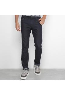 Calça Jeans Reta Acostamento Lavagem Clássica Masculino - Masculino