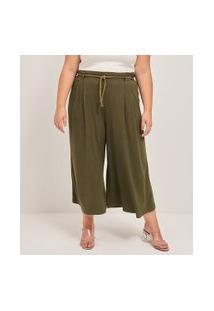 Calça Pantacourt Lisa Com Cinto De Corda Curve & Plus Size | Ashua Curve E Plus Size | Verde | Eg